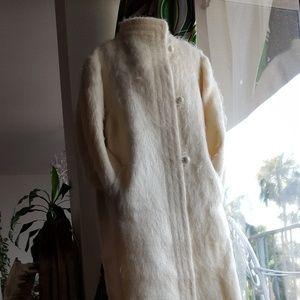 Revillon fur coat full length mohair ivory